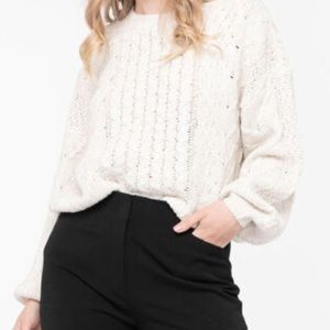 Cable Knit Cotton Blend Sweater